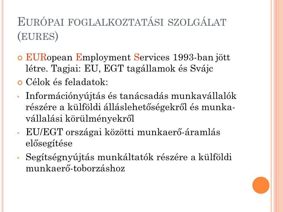 E URÓPAI FOGLALKOZTATÁSI SZOLGÁLAT ( EURES ) EURopean Employment Services 1993-ban jött létre.