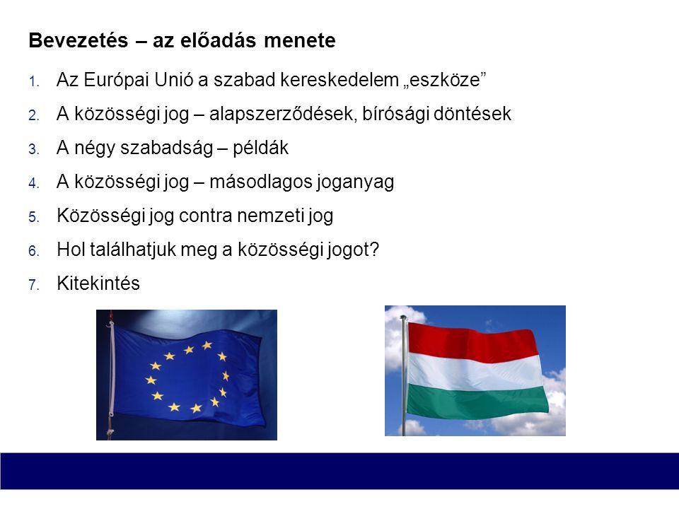 """Bevezetés – az előadás menete  Az Európai Unió a szabad kereskedelem """"eszköze""""  A közösségi jog – alapszerződések, bírósági döntések  A négy sza"""