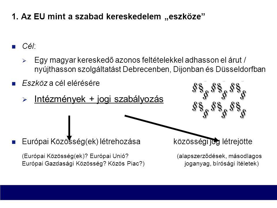 """1. Az EU mint a szabad kereskedelem """"eszköze"""" Cél:  Egy magyar kereskedő azonos feltételekkel adhasson el árut / nyújthasson szolgáltatást Debrecenbe"""