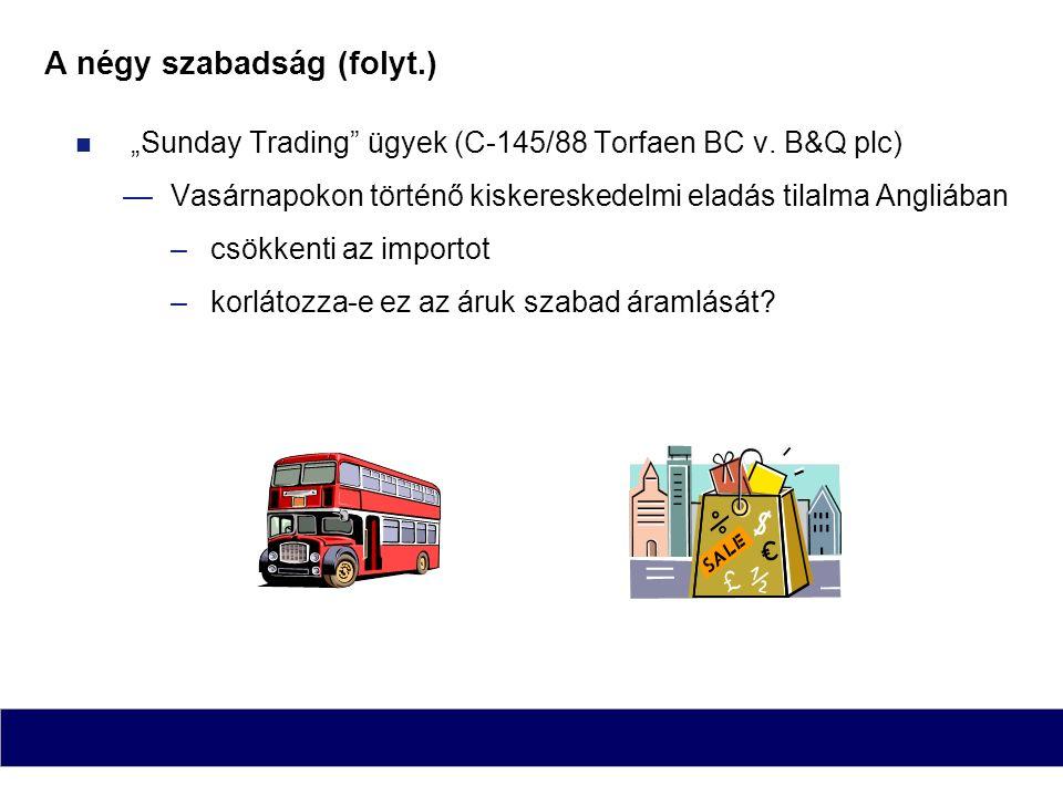 """A négy szabadság (folyt.) """"Sunday Trading"""" ügyek (C-145/88 Torfaen BC v. B&Q plc) —Vasárnapokon történő kiskereskedelmi eladás tilalma Angliában –csök"""