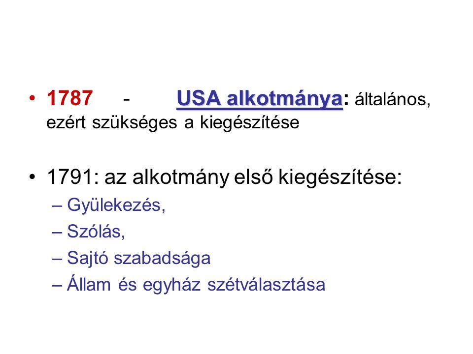 USA alkotmánya1787- USA alkotmánya: általános, ezért szükséges a kiegészítése 1791: az alkotmány első kiegészítése: –Gyülekezés, –Szólás, –Sajtó szabadsága –Állam és egyház szétválasztása