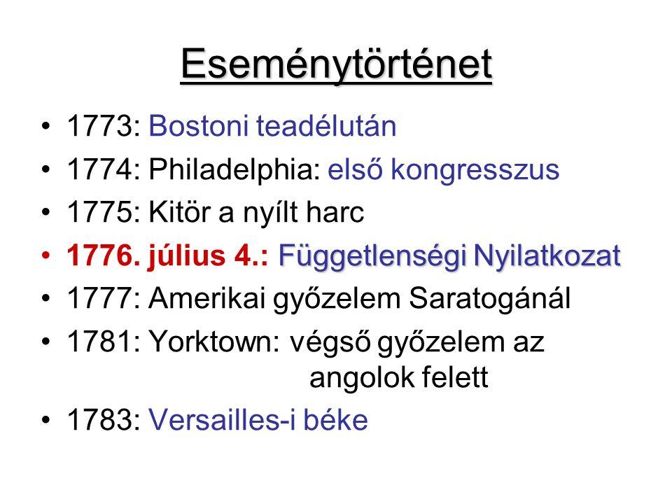 Eseménytörténet 1773: Bostoni teadélután 1774: Philadelphia: első kongresszus 1775: Kitör a nyílt harc Függetlenségi Nyilatkozat1776.