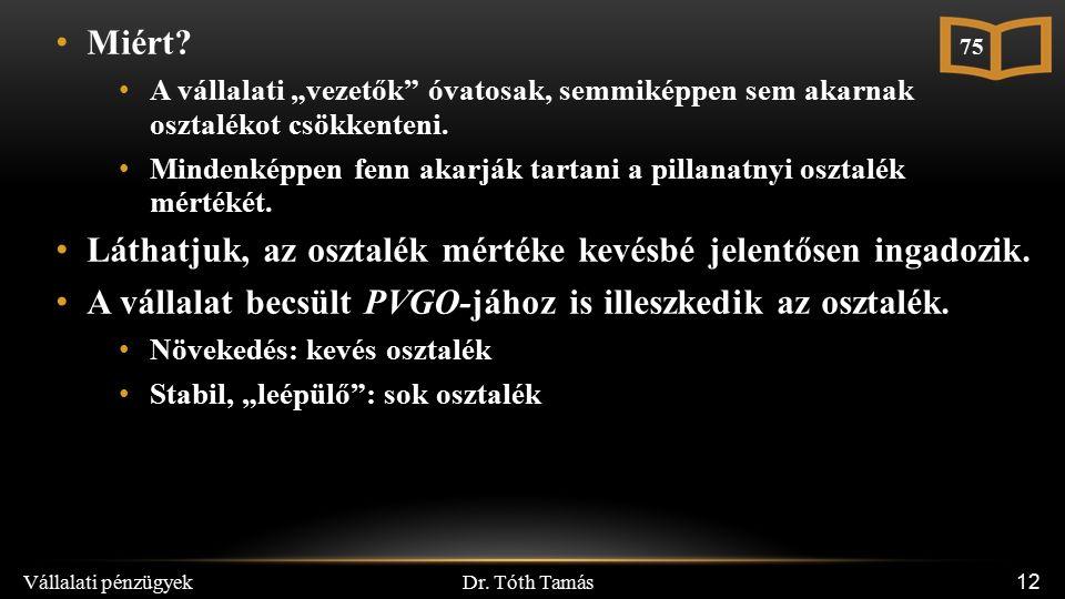 Dr. Tóth Tamás Vállalati pénzügyek 12 Miért.