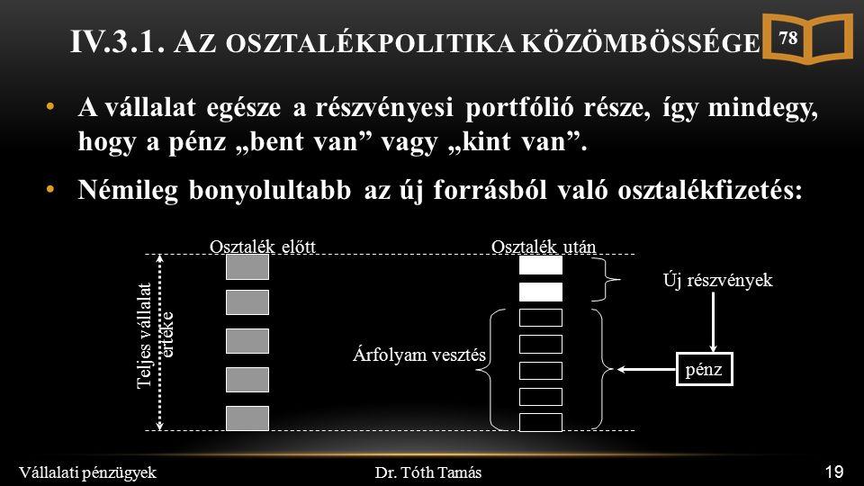 Dr. Tóth Tamás Vállalati pénzügyek 19 IV.3.1.
