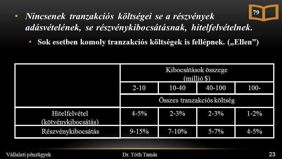 Dr. Tóth Tamás Vállalati pénzügyek 23 Nincsenek tranzakciós költségei se a részvények adásvételének, se részvénykibocsátásnak, hitelfelvételnek. Sok e