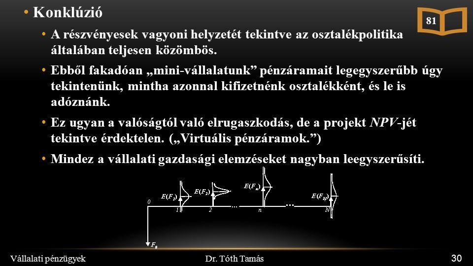 Dr. Tóth Tamás Vállalati pénzügyek 30 Konklúzió A részvényesek vagyoni helyzetét tekintve az osztalékpolitika általában teljesen közömbös. Ebből fakad