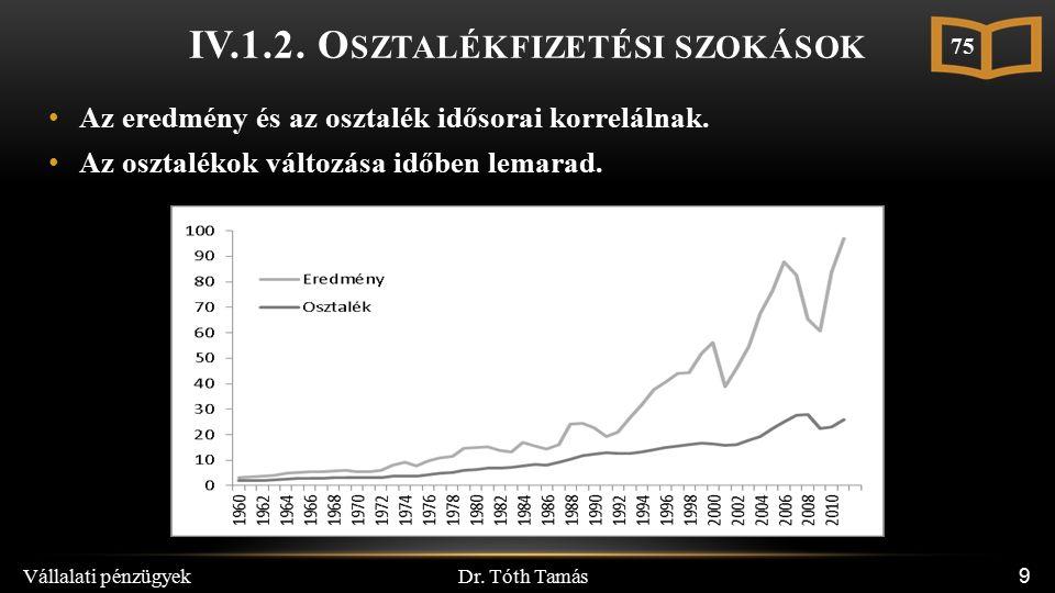 Dr. Tóth Tamás Vállalati pénzügyek 9 IV.1.2.