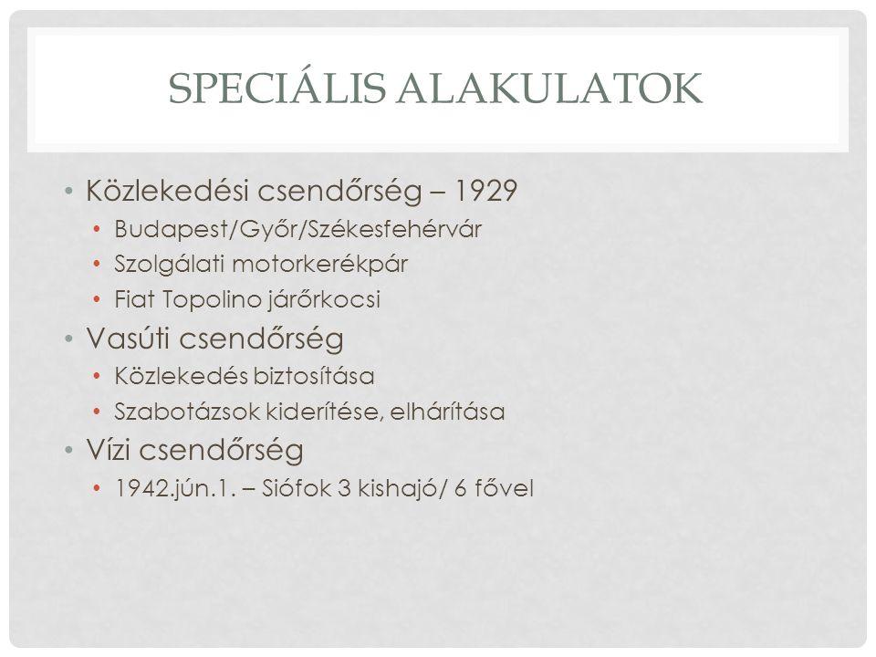 SPECIÁLIS ALAKULATOK Közlekedési csendőrség – 1929 Budapest/Győr/Székesfehérvár Szolgálati motorkerékpár Fiat Topolino járőrkocsi Vasúti csendőrség Közlekedés biztosítása Szabotázsok kiderítése, elhárítása Vízi csendőrség 1942.jún.1.