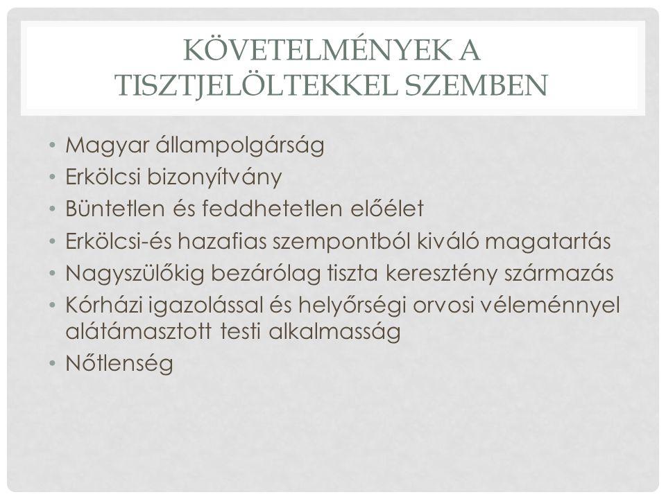 KÖVETELMÉNYEK A TISZTJELÖLTEKKEL SZEMBEN Magyar állampolgárság Erkölcsi bizonyítvány Büntetlen és feddhetetlen előélet Erkölcsi-és hazafias szempontból kiváló magatartás Nagyszülőkig bezárólag tiszta keresztény származás Kórházi igazolással és helyőrségi orvosi véleménnyel alátámasztott testi alkalmasság Nőtlenség