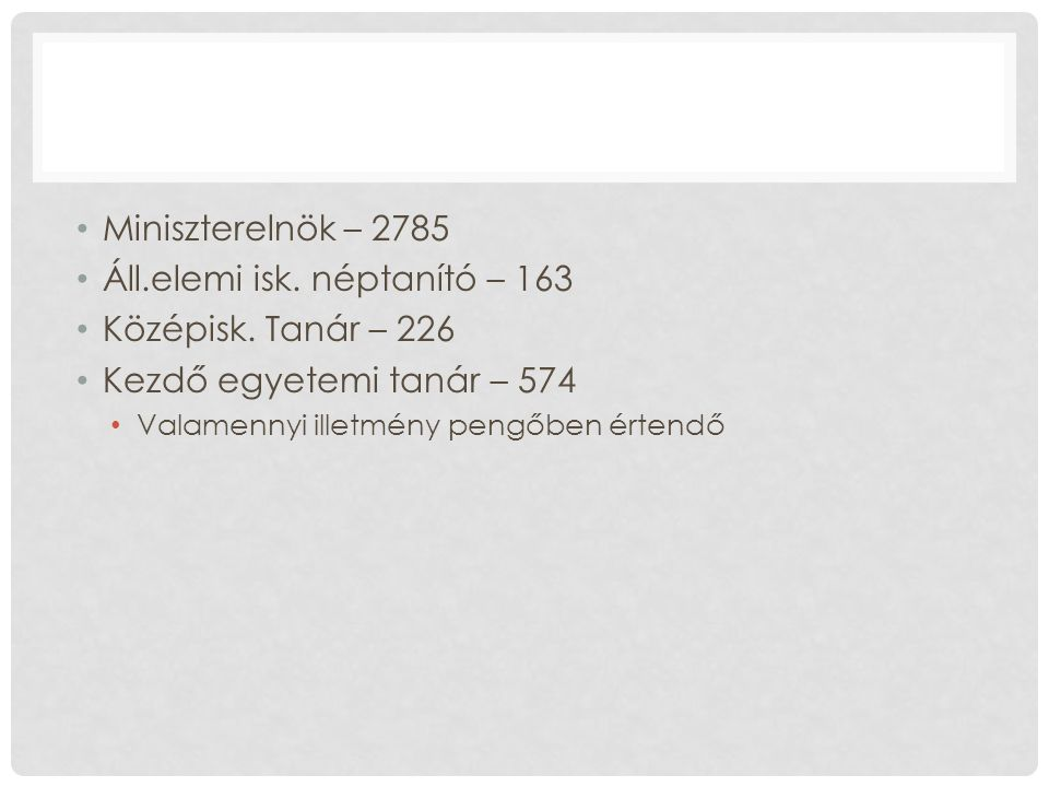 Miniszterelnök – 2785 Áll.elemi isk. néptanító – 163 Középisk.