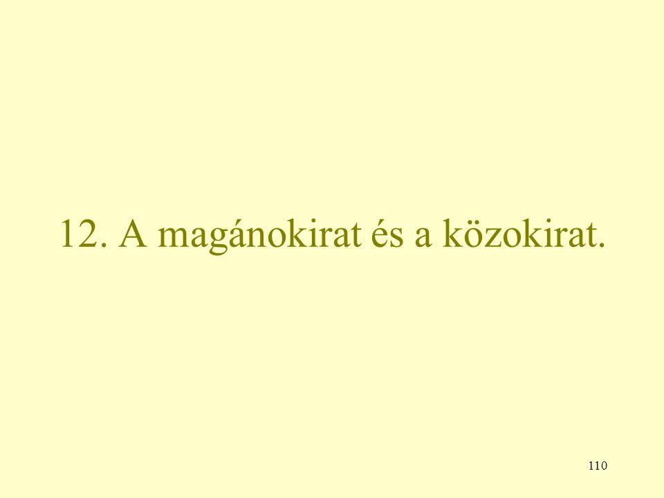 110 12. A magánokirat és a közokirat.