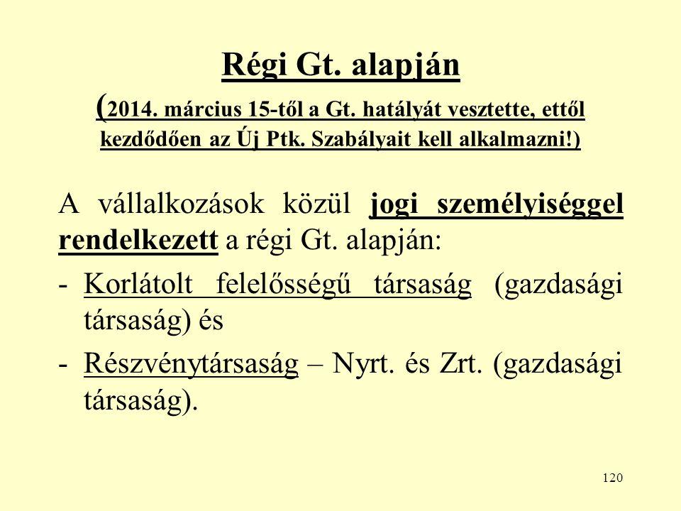 120 Régi Gt. alapján ( 2014. március 15-től a Gt.