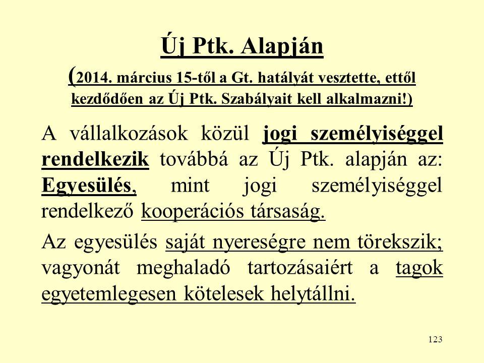 123 Új Ptk. Alapján ( 2014. március 15-től a Gt.