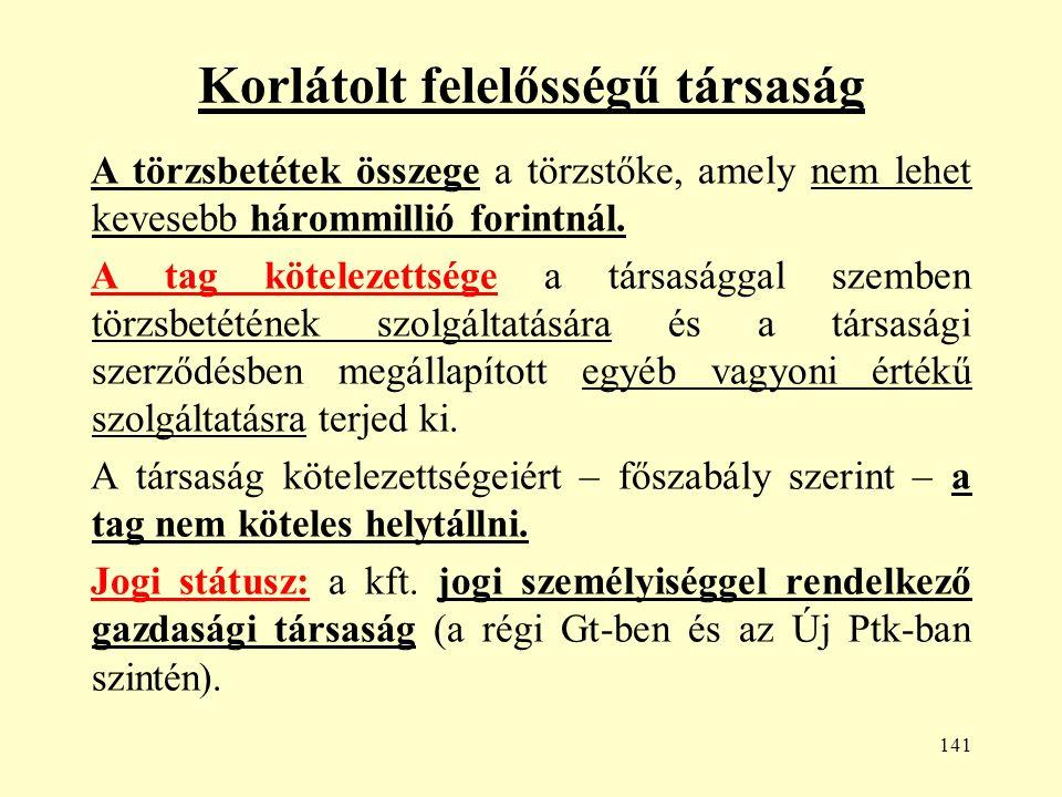 141 Korlátolt felelősségű társaság A törzsbetétek összege a törzstőke, amely nem lehet kevesebb hárommillió forintnál.