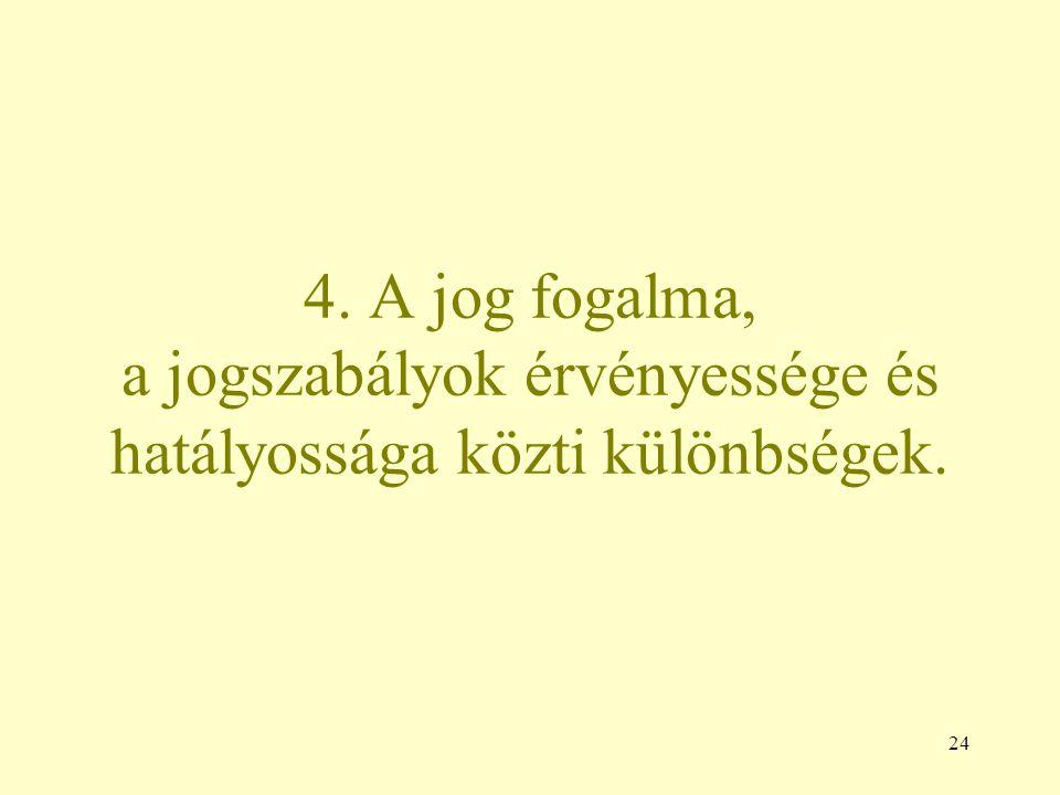 4. A jog fogalma, a jogszabályok érvényessége és hatályossága közti különbségek. 24