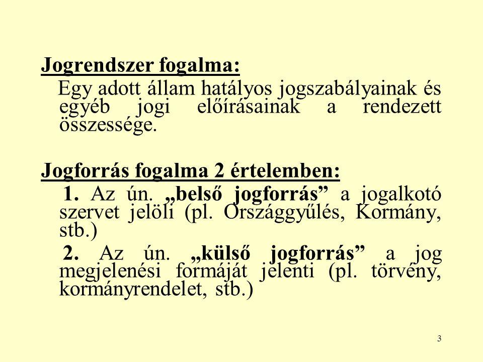 3 Jogrendszer fogalma: Egy adott állam hatályos jogszabályainak és egyéb jogi előírásainak a rendezett összessége.