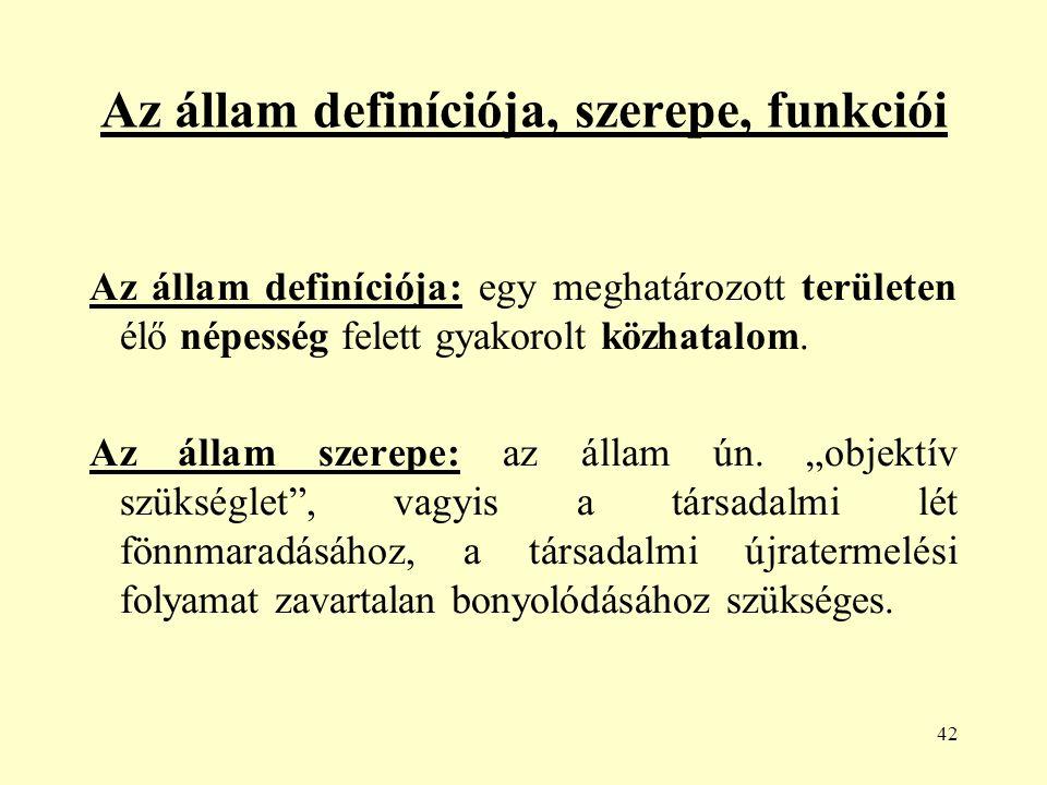 42 Az állam definíciója, szerepe, funkciói Az állam definíciója: egy meghatározott területen élő népesség felett gyakorolt közhatalom.