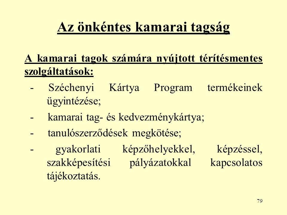 79 Az önkéntes kamarai tagság A kamarai tagok számára nyújtott térítésmentes szolgáltatások: - Széchenyi Kártya Program termékeinek ügyintézése; - kamarai tag- és kedvezménykártya; - tanulószerződések megkötése; - gyakorlati képzőhelyekkel, képzéssel, szakképesítési pályázatokkal kapcsolatos tájékoztatás.