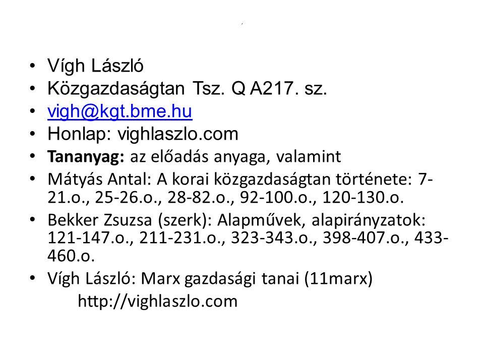 ' Vígh László Közgazdaságtan Tsz.Q A217. sz.