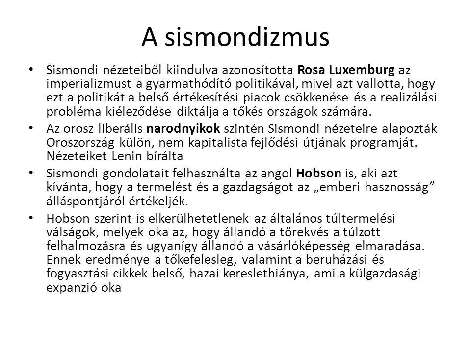 A sismondizmus Sismondi nézeteiből kiindulva azonosította Rosa Luxemburg az imperializmust a gyarmathódító politikával, mivel azt vallotta, hogy ezt a politikát a belső értékesítési piacok csökkenése és a realizálási probléma kiéleződése diktálja a tőkés országok számára.