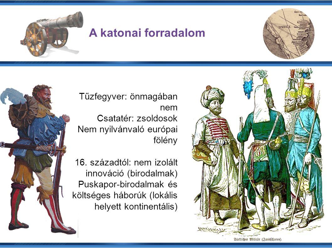 A katonai forradalom Tűzfegyver: önmagában nem Csatatér: zsoldosok Nem nyilvánvaló európai fölény 16.