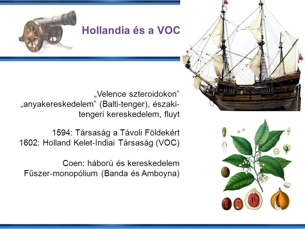 """Hollandia és a VOC """"Velence szteroidokon """"anyakereskedelem (Balti-tenger), északi- tengeri kereskedelem, fluyt 1594: Társaság a Távoli Földekért 1602: Holland Kelet-Indiai Társaság (VOC)  Coen: háború és kereskedelem Fűszer-monopólium (Banda és Amboyna)"""