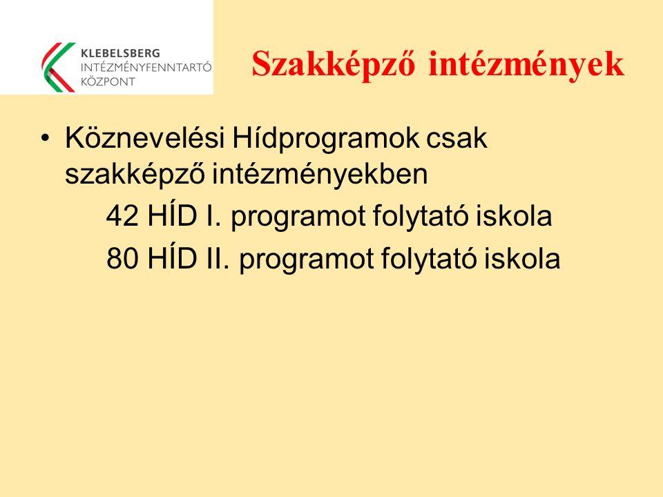 Szakképző intézmények Köznevelési Hídprogramok csak szakképző intézményekben 42 HÍD I. programot folytató iskola 80 HÍD II. programot folytató iskola