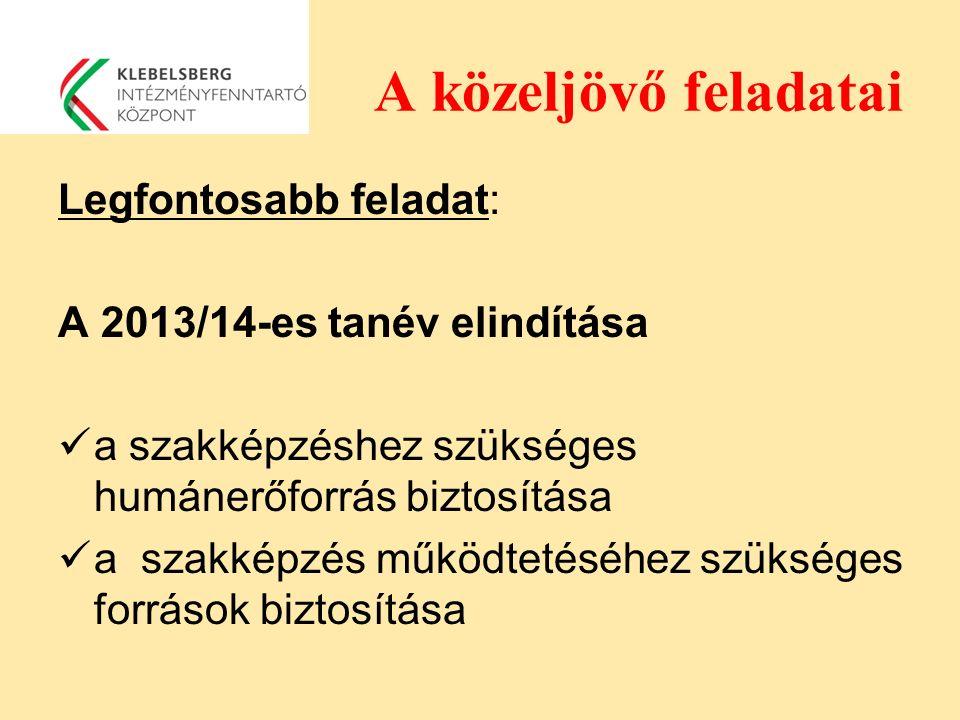A közeljövő feladatai Legfontosabb feladat: A 2013/14-es tanév elindítása a szakképzéshez szükséges humánerőforrás biztosítása a szakképzés működtetés