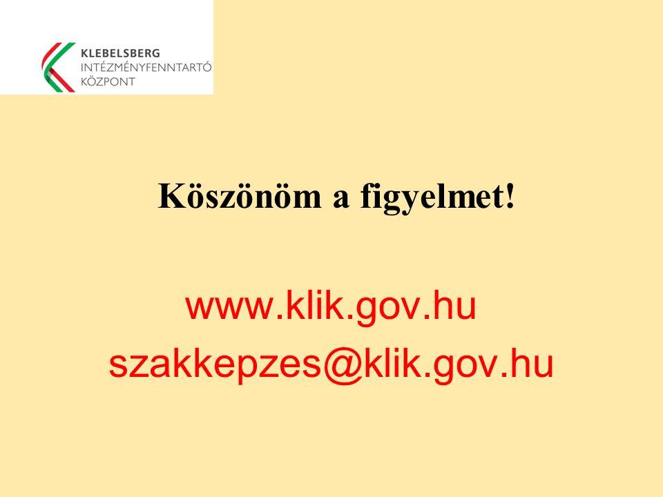 Köszönöm a figyelmet! www.klik.gov.hu szakkepzes@klik.gov.hu