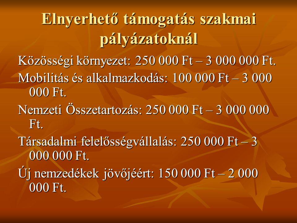 Elnyerhető támogatás szakmai pályázatoknál Közösségi környezet: 250 000 Ft – 3 000 000 Ft. Mobilitás és alkalmazkodás: 100 000 Ft – 3 000 000 Ft. Nemz