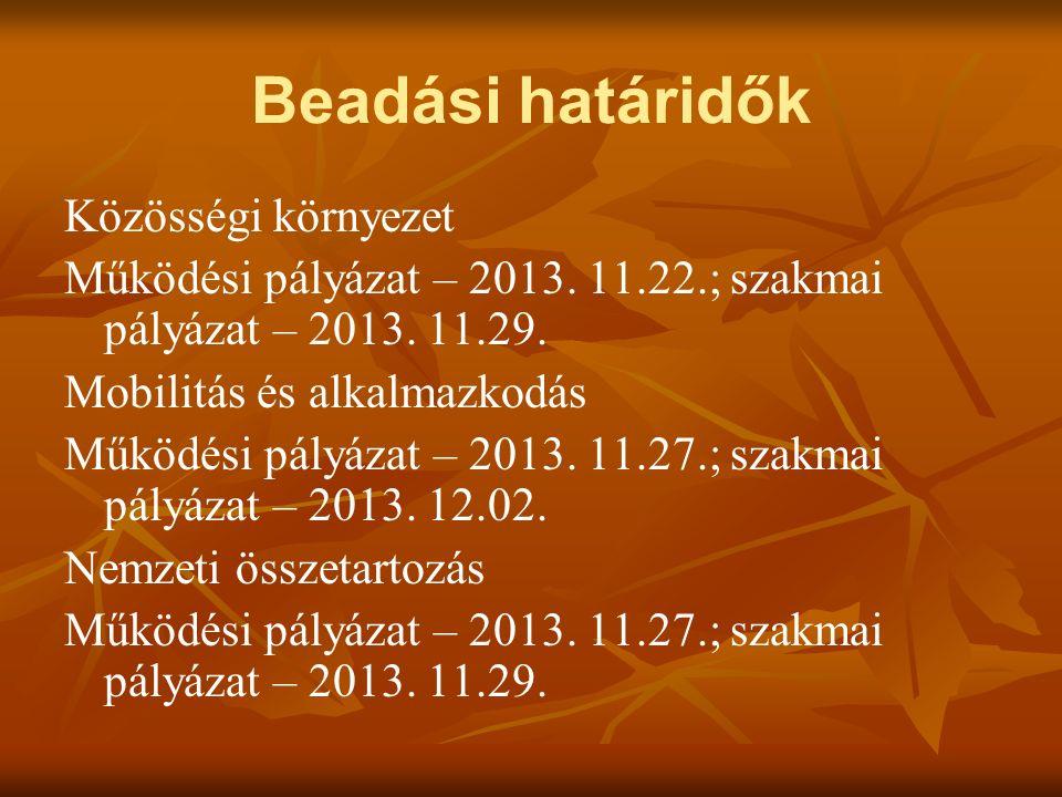Beadási határidők Közösségi környezet Működési pályázat – 2013.