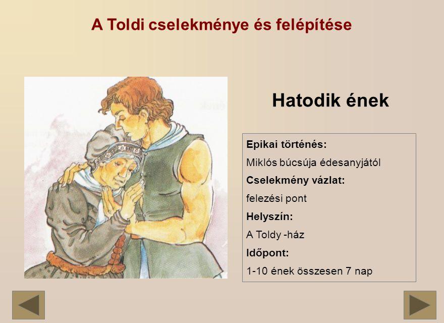 A Toldi cselekménye és felépítése Hatodik ének Epikai történés: Miklós búcsúja édesanyjától Cselekmény vázlat: felezési pont Helyszín: A Toldy -ház Időpont: 1-10 ének összesen 7 nap