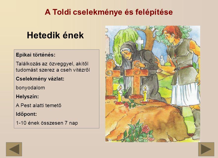 A Toldi cselekménye és felépítése Hetedik ének Epikai történés: Találkozás az özveggyel, akitől tudomást szerez a cseh vitézről Cselekmény vázlat: bonyodalom Helyszín: A Pest alatti temető Időpont: 1-10 ének összesen 7 nap