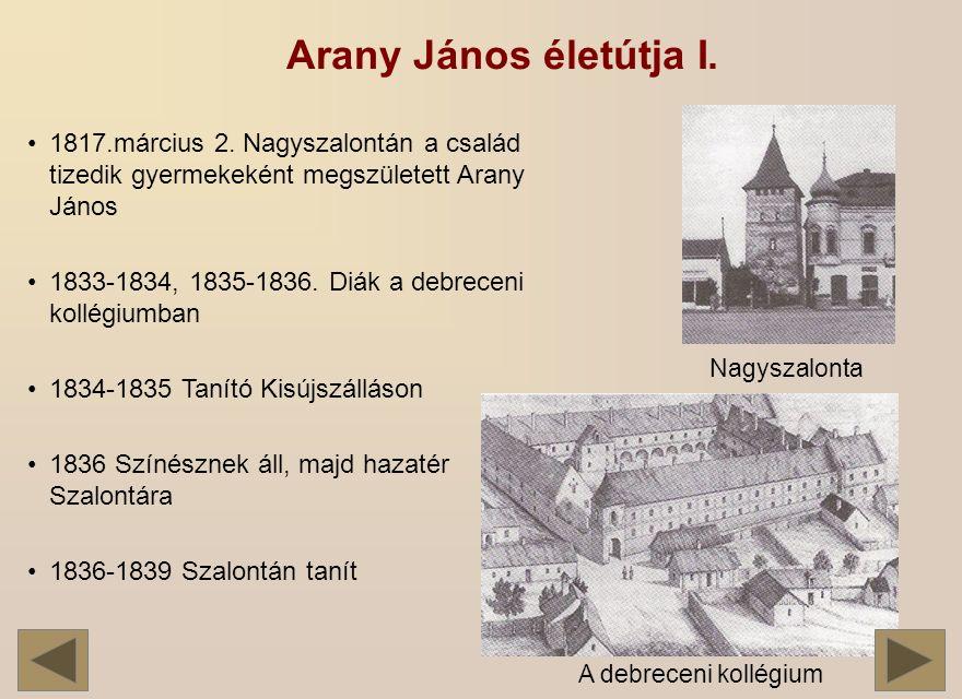 Arany János életútja I.1817.március 2.