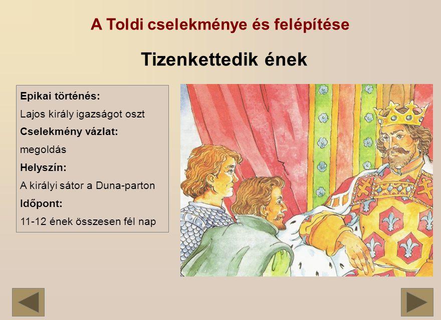 A Toldi cselekménye és felépítése Tizenkettedik ének Epikai történés: Lajos király igazságot oszt Cselekmény vázlat: megoldás Helyszín: A királyi sátor a Duna-parton Időpont: 11-12 ének összesen fél nap