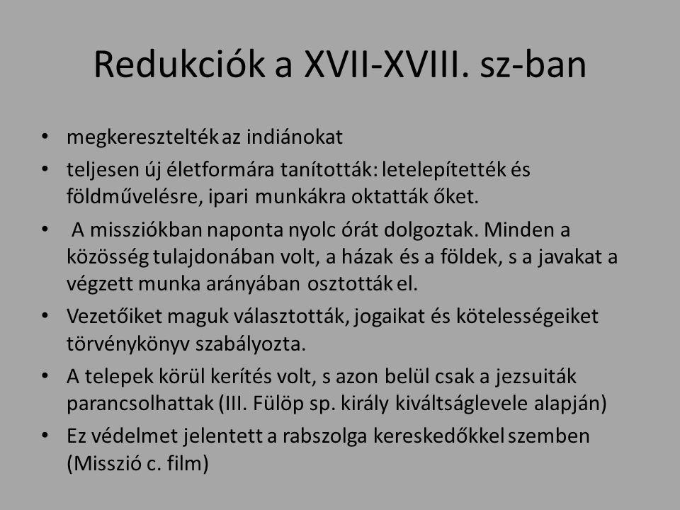 Redukciók a XVII-XVIII.