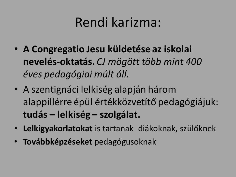 Rendi karizma: A Congregatio Jesu küldetése az iskolai nevelés-oktatás.