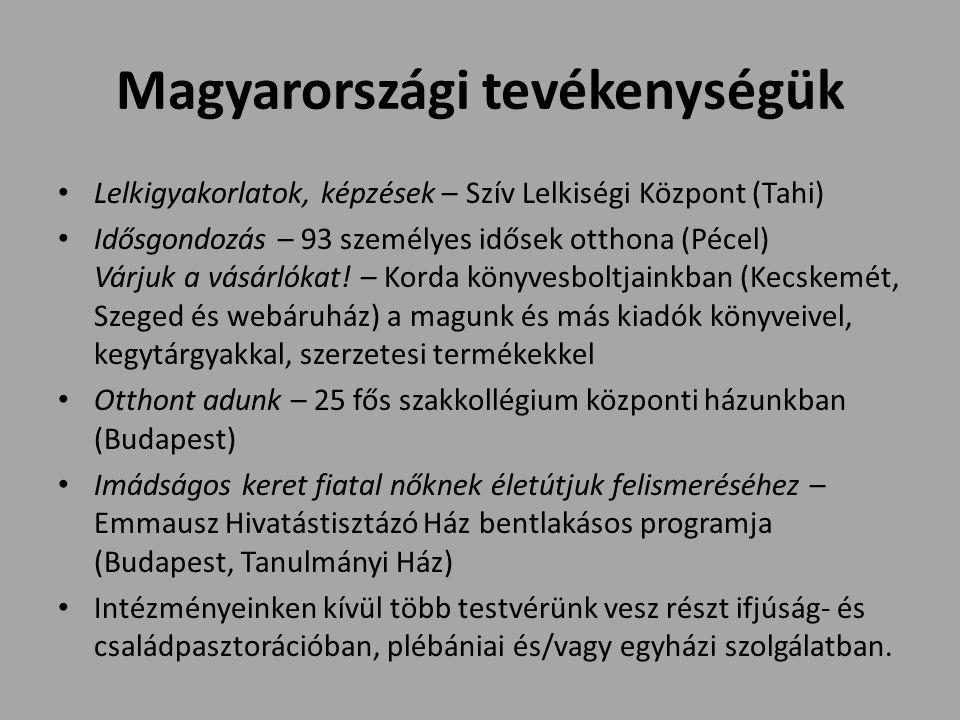 Magyarországi tevékenységük Lelkigyakorlatok, képzések – Szív Lelkiségi Központ (Tahi) Idősgondozás – 93 személyes idősek otthona (Pécel) Várjuk a vásárlókat.