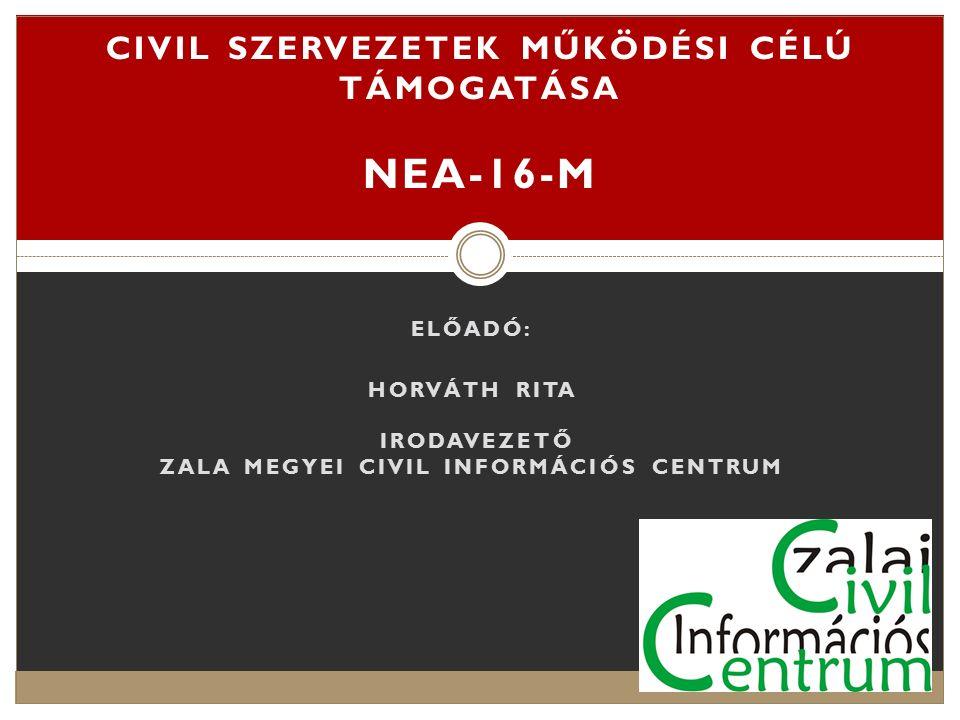 A pályázat célja: A pályázat a civil társadalom erősítését, a civil szervezetek társadalmi szerepvállalásának elősegítését szolgálja.