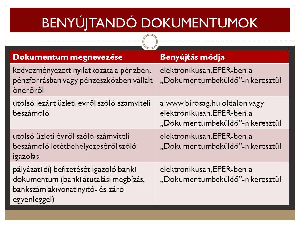 BENYÚJTANDÓ DOKUMENTUMOK Dokumentum megnevezéseBenyújtás módja kedvezményezett nyilatkozata a pénzben, pénzforrásban vagy pénzeszközben vállalt önerőr