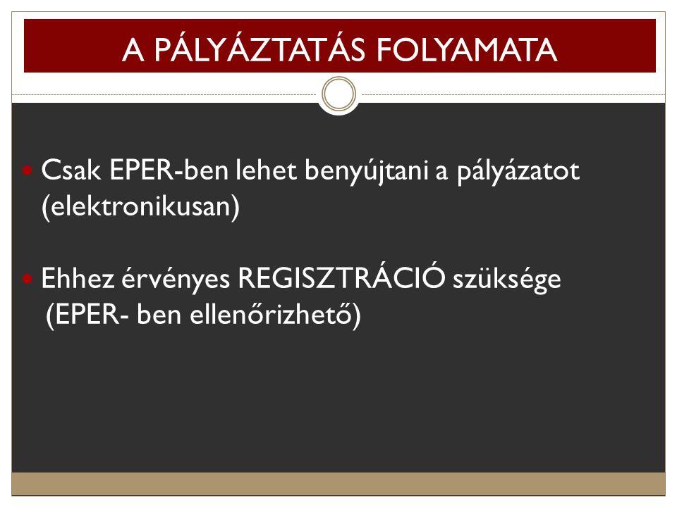A PÁLYÁZTATÁS FOLYAMATA Csak EPER-ben lehet benyújtani a pályázatot (elektronikusan) Ehhez érvényes REGISZTRÁCIÓ szüksége (EPER- ben ellenőrizhető)