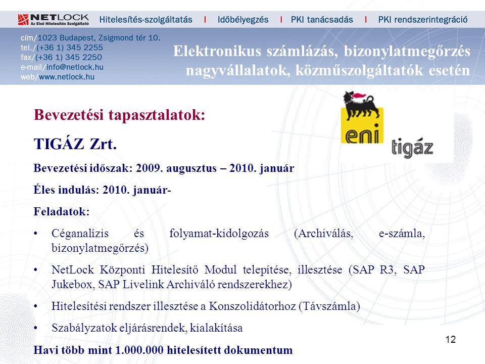 12 Bevezetési tapasztalatok: TIGÁZ Zrt. Bevezetési időszak: 2009.