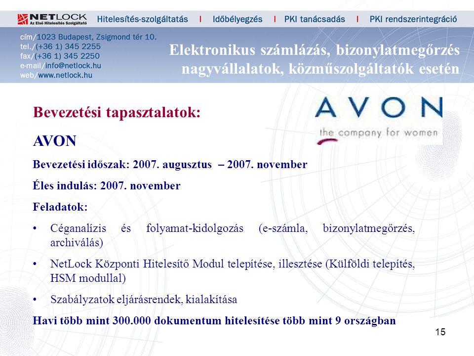 15 Bevezetési tapasztalatok: AVON Bevezetési időszak: 2007.
