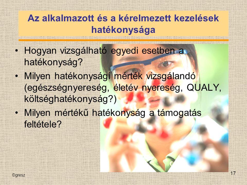 ©gresz 17 Az alkalmazott és a kérelmezett kezelések hatékonysága Hogyan vizsgálható egyedi esetben a hatékonyság.