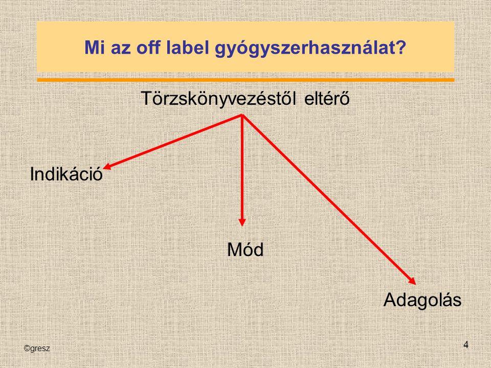 ©gresz 4 Mi az off label gyógyszerhasználat Törzskönyvezéstől eltérő Indikáció Mód Adagolás