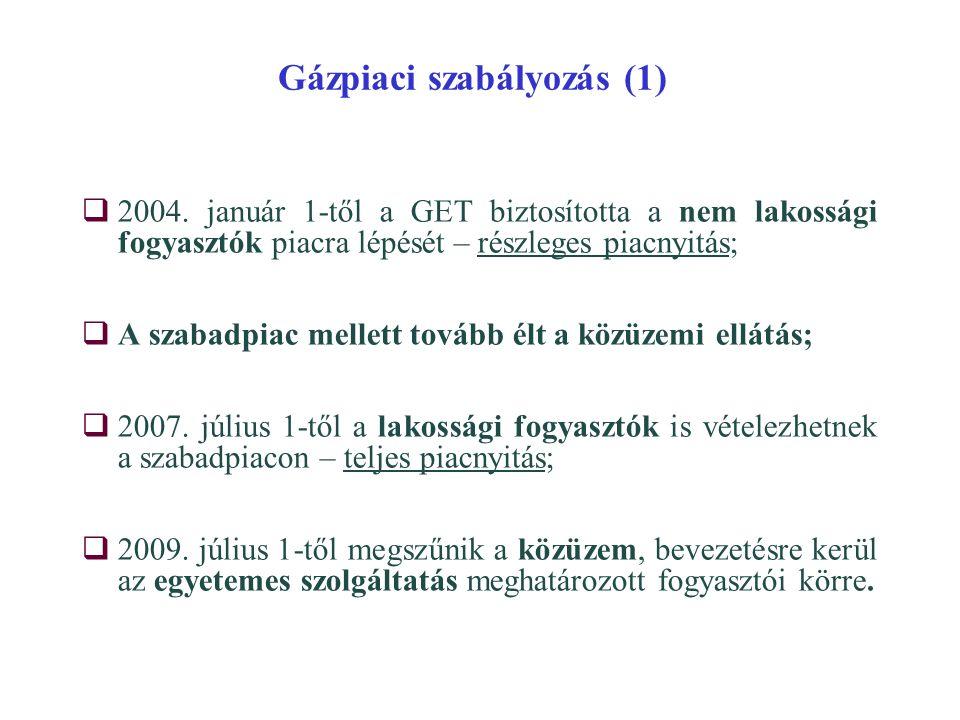 Gázpiaci szabályozás (1)  2004. január 1-től a GET biztosította a nem lakossági fogyasztók piacra lépését – részleges piacnyitás;  A szabadpiac mell