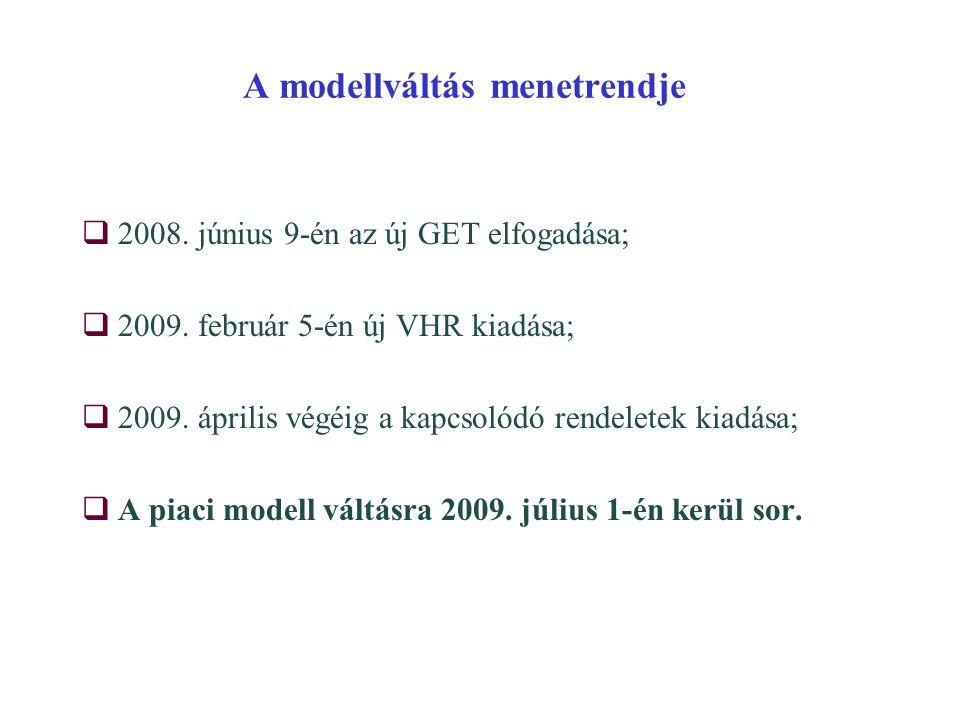 A modellváltás menetrendje  2008. június 9-én az új GET elfogadása;  2009. február 5-én új VHR kiadása;  2009. április végéig a kapcsolódó rendelet