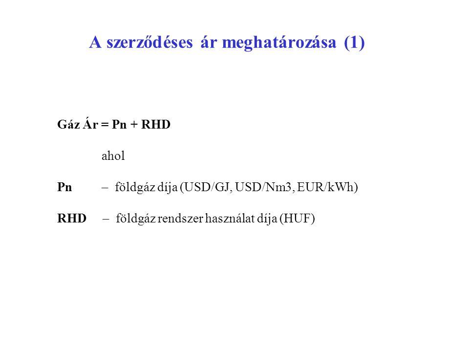 A szerződéses ár meghatározása (1) Gáz Ár = Pn + RHD ahol Pn – földgáz díja (USD/GJ, USD/Nm3, EUR/kWh) RHD – földgáz rendszer használat díja (HUF)
