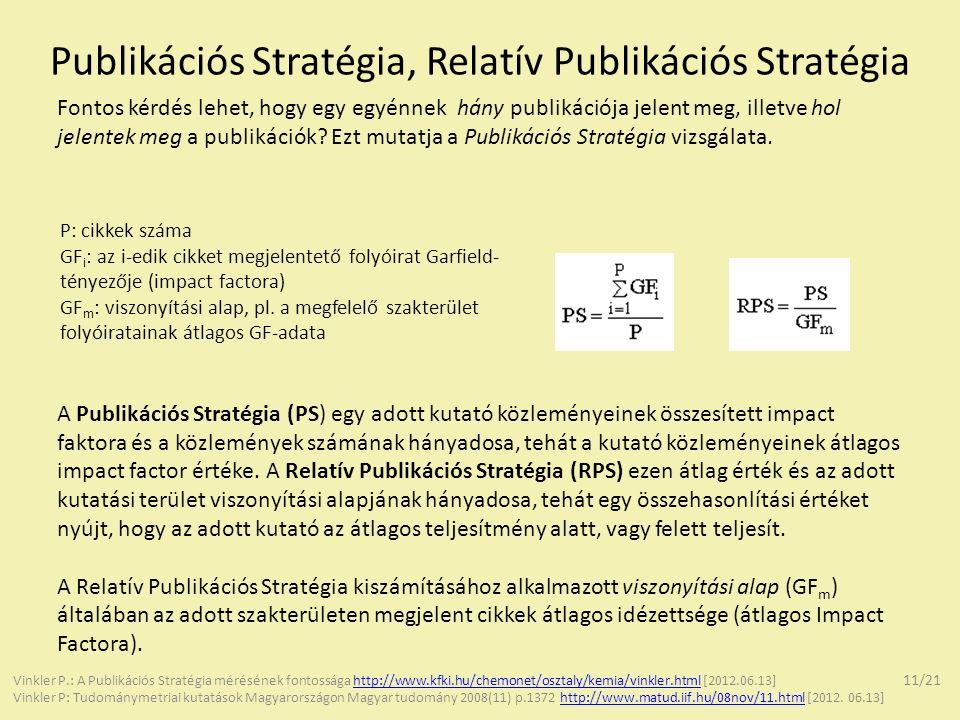 Publikációs Stratégia, Relatív Publikációs Stratégia Fontos kérdés lehet, hogy egy egyénnek hány publikációja jelent meg, illetve hol jelentek meg a p