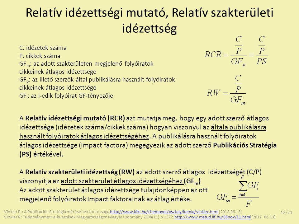 Relatív idézettségi mutató, Relatív szakterületi idézettség C: idézetek száma P: cikkek száma GF m : az adott szakterületen megjelenő folyóiratok cikk